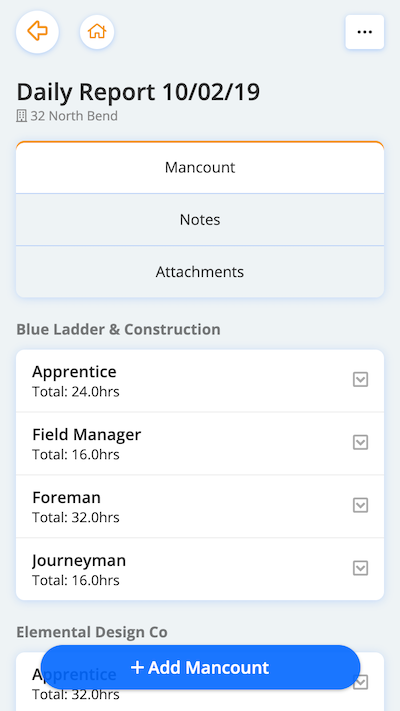 Construction mobile daily reports mancount