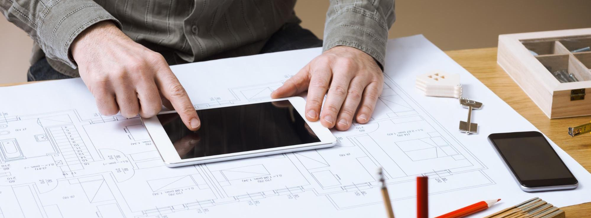 Construction blueprints tablet